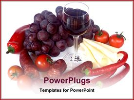 PowerPoint template displaying pepper, tomatoes, vine and wine glass on white background