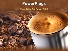 PowerPoint template displaying cup of coffee with coffee seeds