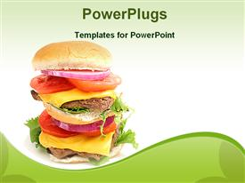 PowerPoint template displaying double cheeseburger with cheese slices, meat, onion slice, tomato slice and salad between burger slices on light green background