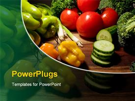 PowerPoint template displaying red green orange multicolored vegetables for healthy cooking on a dark background