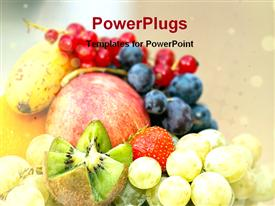 PowerPoint template displaying assortment of fresh fruits, apple, kiwi, red grapes, blue grapes, green grapes, strawberry