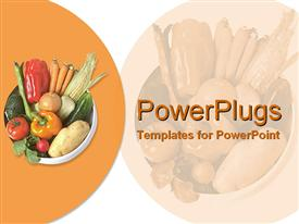 PowerPoint template displaying white bowl filled with fresh vegetables on orange table mat