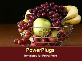 PowerPoint template displaying apples, grapes and bananas in a metallic silver  bowl