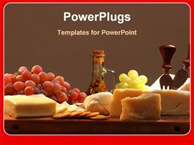 PowerPoint template displaying table set with grapes, cheese, fork and a knife