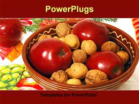 PowerPoint template displaying large brown bowl with three red apples and nuts