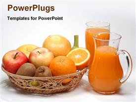 PowerPoint template displaying basket of kiwis, orange and apple fruit with pitcher of juice and glass, nutrition