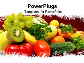 PowerPoint template displaying fruits and vegetables in the background.