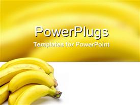 PowerPoint template displaying full of potassium and know as the happy fruit in the background.