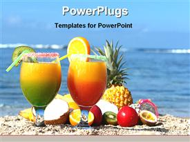 PowerPoint template displaying two cups with fruit drinks and various fruits on a beach