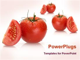 PowerPoint template displaying a collection of tomatoes and their pieces with pinkish background
