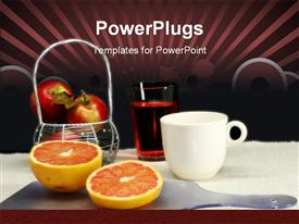 PowerPoint template displaying healthy breakfast fruits juice and coffee table setting