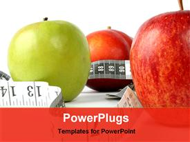 PowerPoint template displaying a number of apples along with measuring tape