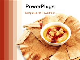 PowerPoint template displaying hummus and traditional Arabian flat bread or qubus in the background.