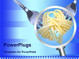 PowerPoint template displaying magnifying glass showing spaghetti rolled on two forks on a striped light and dark blue background