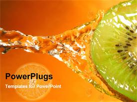 PowerPoint template displaying kiwi with water splash and orange slice