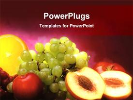 PowerPoint template displaying mix fruits in the background.