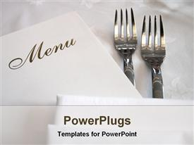 PowerPoint template displaying a pair of forks with the menu