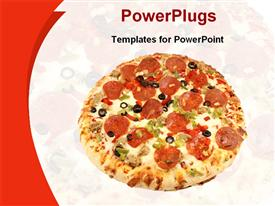 PowerPoint template displaying close up of salami pizza and pizza fading in the background