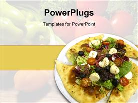PowerPoint template displaying white plate with salad on tortilla, healthy food, vegetables