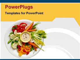 PowerPoint template displaying healthy diet, healthy food on white plate, freshly made salad of vegetables, vegetable slices
