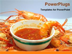 PowerPoint template displaying prone soup in a desk in the background.