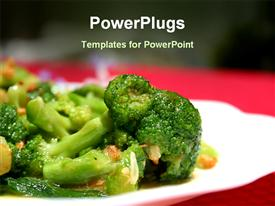PowerPoint template displaying sumptuous dish of broccoli flowers saturated in garlic