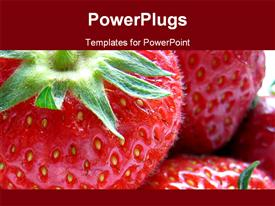 PowerPoint template displaying selection of mouthwatering strawberries in the background.