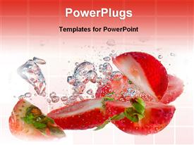 PowerPoint template displaying strawberries in splashing water