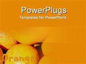 PowerPoint template displaying pile of oranges, citrus fruits, healthy food