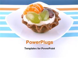 PowerPoint template displaying sweet cake with cream, fruits and jelly in the background.
