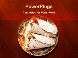 PowerPoint template displaying plate with two tortilla chips on red wooden table