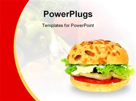 PowerPoint template displaying healthy vegetable burger on a white and red background
