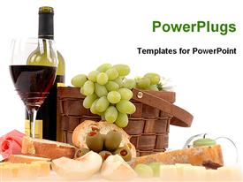 PowerPoint template displaying picnic basket with grapes bottle of wine glass of red wine, cheese slices, bread slice, apple, candle and rose