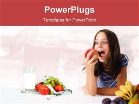 Young girl with apple powerpoint design layout