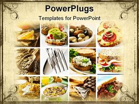 PowerPoint template displaying healthy breakfast collage made from nine photographs in the background.