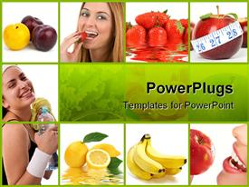 PowerPoint template displaying healthy lifestyle concept. Diet and fitness in the background.