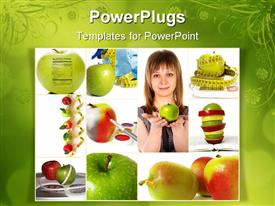 PowerPoint template displaying healthy lifestyle concept. Pretty woman and apples