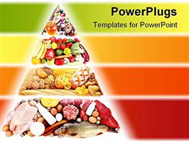 PowerPoint template displaying food pyramid containing foods for a healthy diet with various food types on red, orange, yellow and green layered background