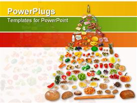 PowerPoint template displaying large food pyramid in the background.