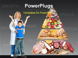 PowerPoint template displaying a doctor with a kid and a lot of healthy food