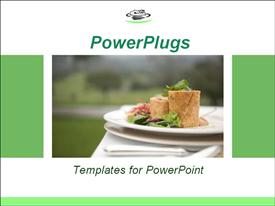 PowerPoint template displaying mall plate of gourmet food on the outside table in the background.