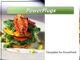 PowerPoint template displaying vegetable stack entree in the background.