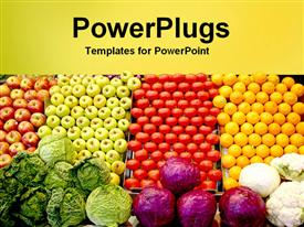 PowerPoint template displaying piles of fruits and vegetables, yellow and red apples, green apples, tomatoes, lemons, cabbages, red cabbage and cauliflowers with yellow band background