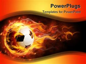 PowerPoint template displaying white and black football on fire on a black and orange background