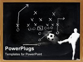 PowerPoint template displaying white figure kicking ball in front of sports play diagram
