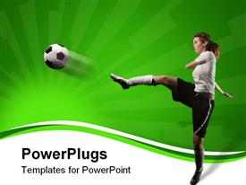 PowerPoint template displaying a female football player hitting the ball with force