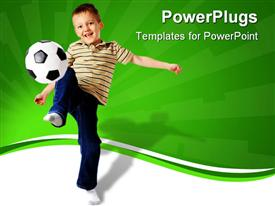 PowerPoint template displaying little kid smiling as he joggles soccer ball with green and white background