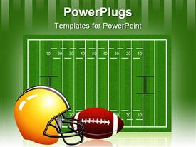 PowerPoint template displaying the measurement of the rugby field along with a helmet and football