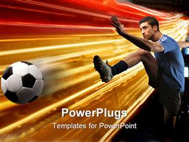 PowerPoint template displaying colorful background with soccer player kicking ball