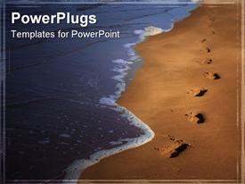 PowerPoint template displaying the depiction of a tide and footprints on the beach